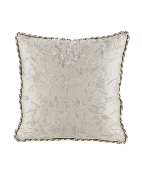 "Embroidered Platinum Pillow, 22""Sq."
