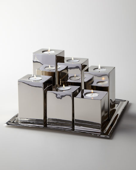 """Luka"" Tea Light Holders & Tray"