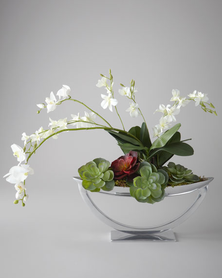 """Steely Orchids"" Faux Floral Arrangement"