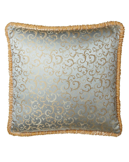 Scroll Jacquard European Sham with Ruched Velvet Welt