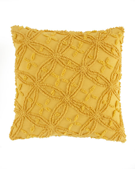 """Curry Candlewick Pillow, 18""""Sq."""