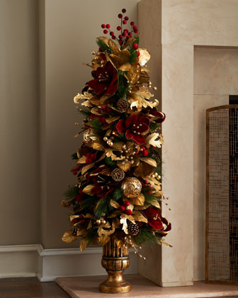 Burgundy Amp Gold Tree Topiary