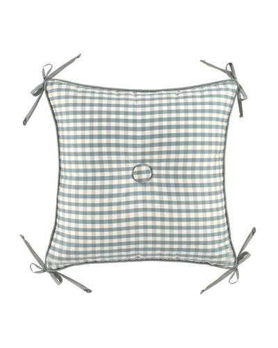 18Sq. Checked Pillow w/ Center Button/Corner Ties
