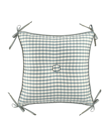 "18""Sq. Checked Pillow w/ Center Button/Corner Ties"