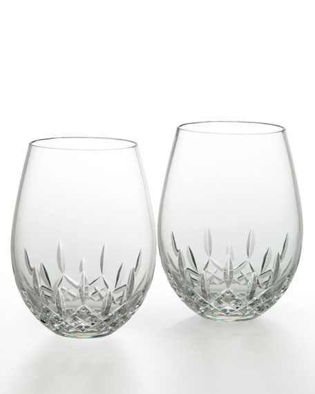 Lismore Nouveau Stemless Deep Red Wine Glasses, Set