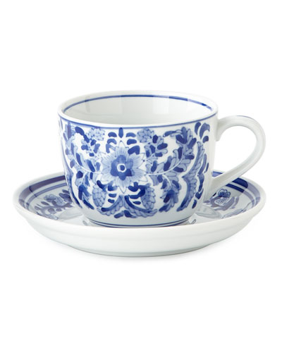 Set of 12 Assorted Blue & White 14-Ounce Cups & Saucers