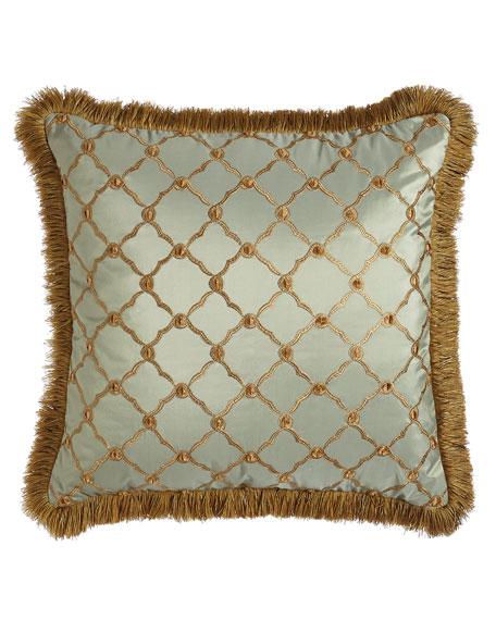 "Tuscan Trellis Square Pillow with Brush Fringe, 20""Sq."