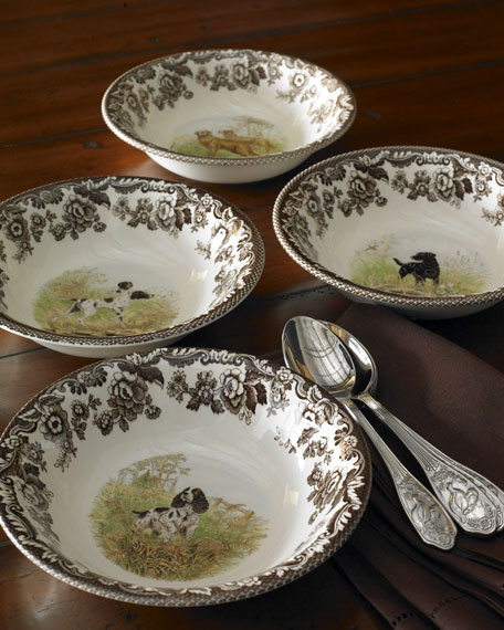 Four Assorted Woodland Hunting Dog Cereal Bowls