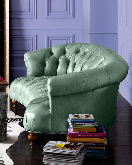 "Turquoise Leather Sofa 71"""