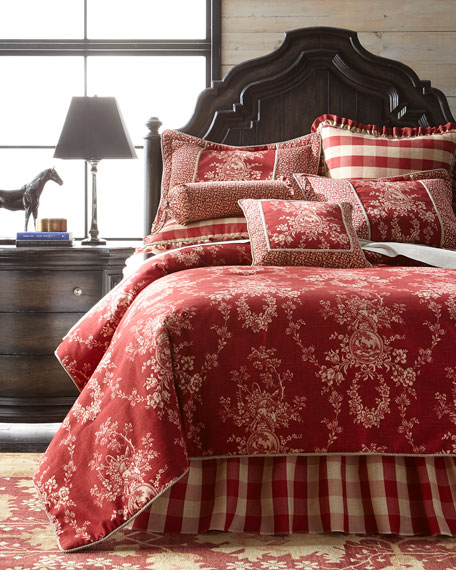Sherry Kline Home French Country, Red Toile Queen Bedding