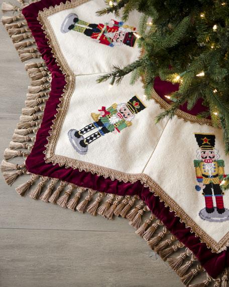 Peking Handicraft Nutcrackers Tasseled Christmas Tree Skirt