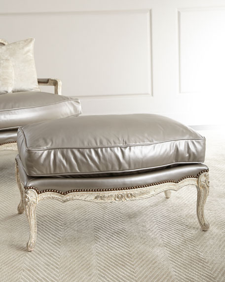 Etonnant Old Hickory Tannery Silver Leather Bergere Ottoman