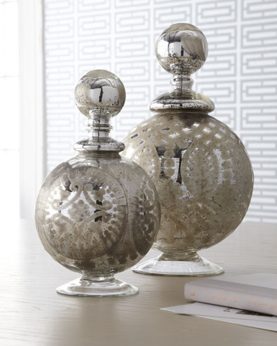 Two Etched Glass Bottles
