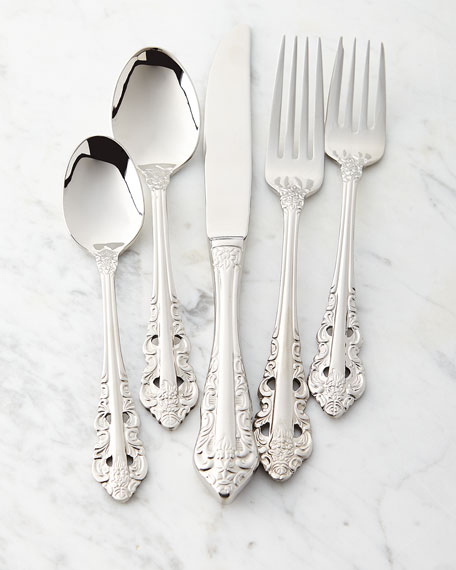 Wallace Silversmiths 5-Piece Antique Baroque Flatware Place