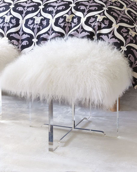 lucite white tov sheepskin by bench at furniture luxe zluxe