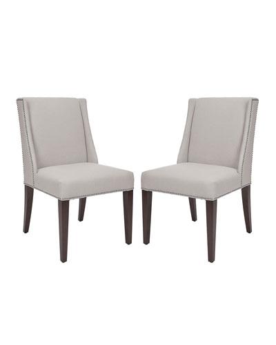 Two Lauren Linen Side Chairs