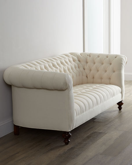 "Ellsworth Neutral Tufted Sofa 84"""