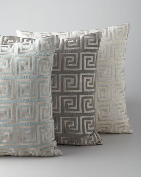 Greek Key Metallic Accent Pillow