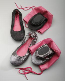 CitySlips Glitter-Toe Ballet Travel Flats