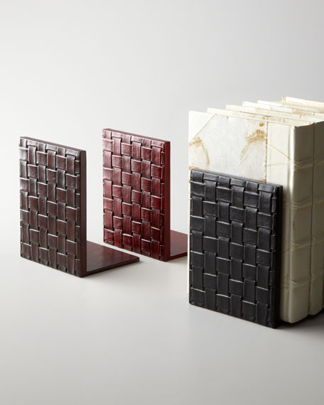 Woven Leather Bookends