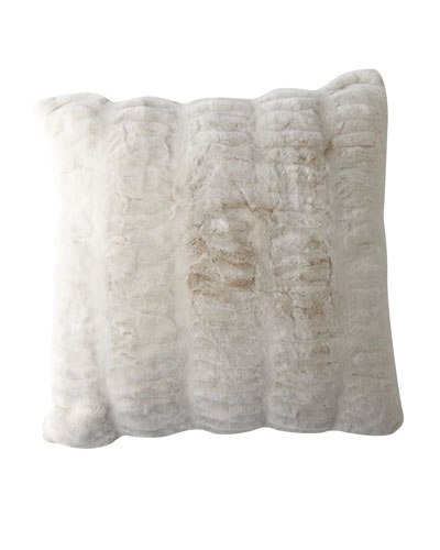 Ivory Mink Faux Fur Accent Pillow