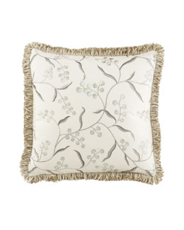 "Jane Wilner Designs Embroidered Floral Pillow, 20""Sq."