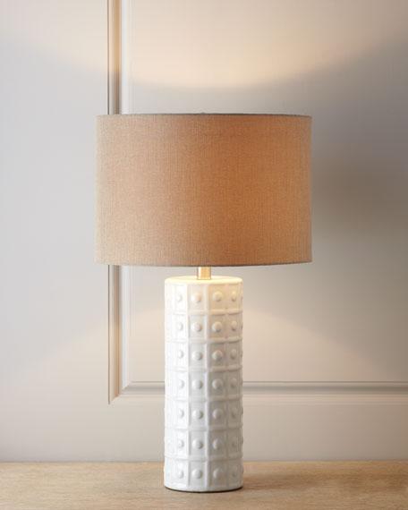 WHITE CERAMIC LAMP W/ NATURA