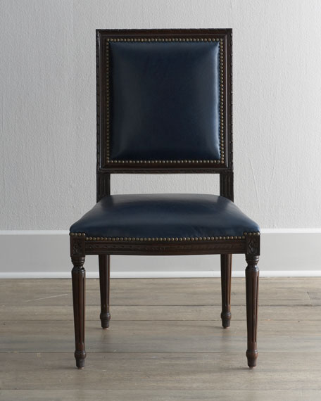 Marlin Blue Leather Side Chair