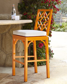Orange Chinoiserie Barstool