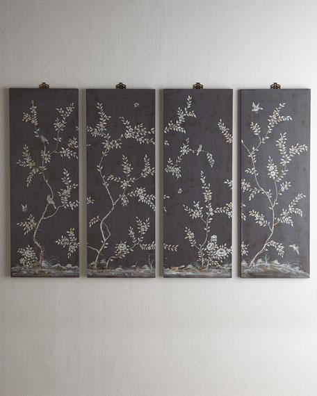 Four Bird & Vine Wall Panels