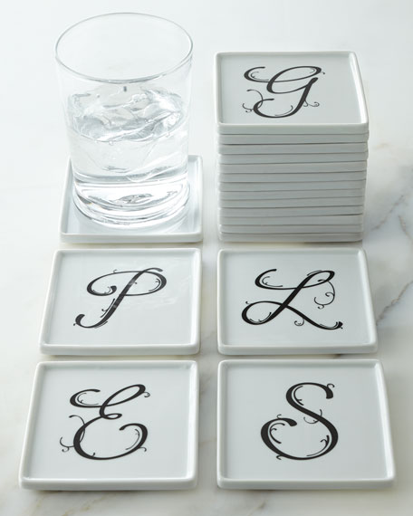 Four Monogrammed Coasters