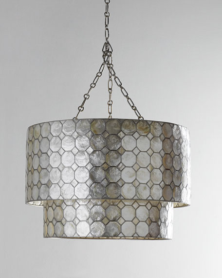 Smoked Capiz 2-Tier 3-Light Pendant