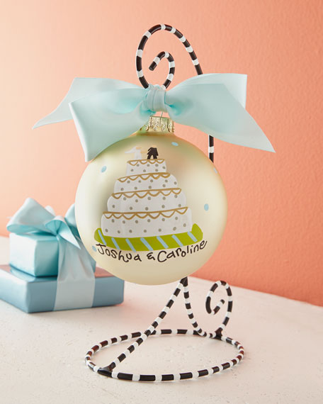 Wedding Cake Ornament with Stand