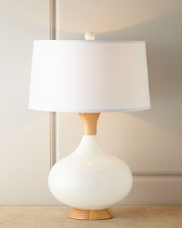 White Glass & Teak Lamp