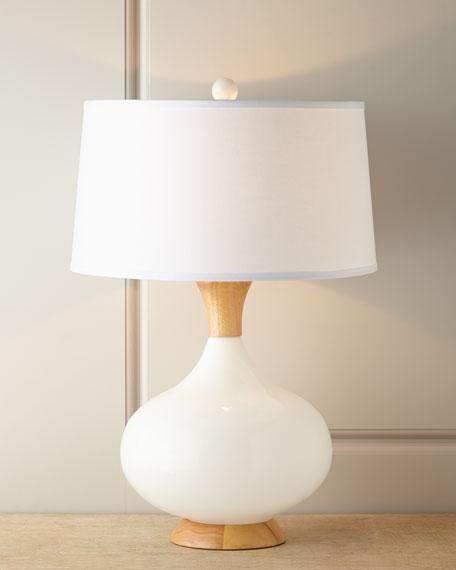 White Glass & Teak Lamp
