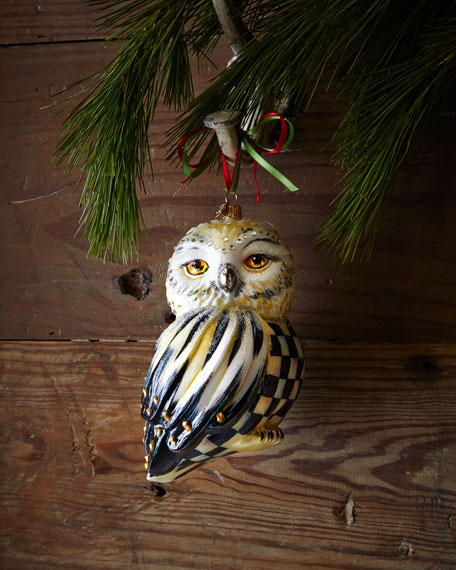 Courtly Check Snowy Owl Christmas Ornament