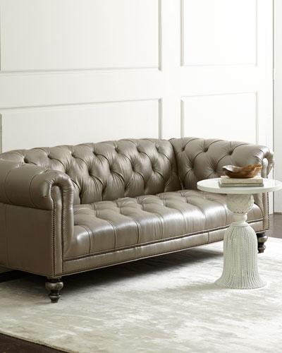 Morgan Gray Tufted Leather Sofa