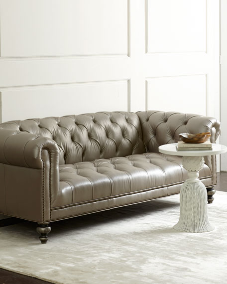 Old hickory tannery morgan gray chesterfield leather sofa for Tufted couches for sale