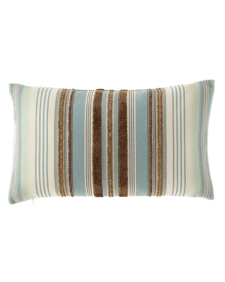 Chocolate/Aqua Multi-Stripes Pillow