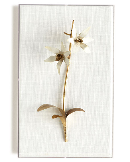 Original Gilded Orchid on White Linen