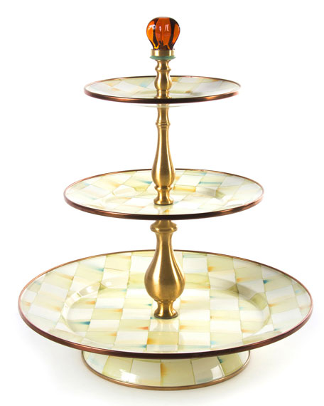 MacKenzie-Childs Parchment Check 3-Tier Sweet Stand