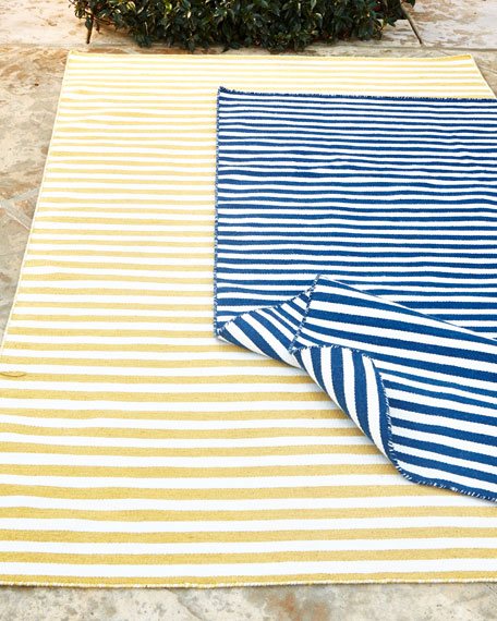 Mini Stripe Indoor/Outdoor Rug, 8' Square