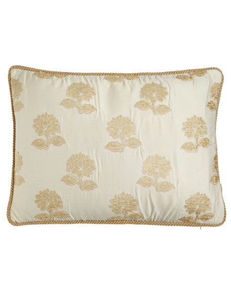 Antoinette King Sham with Chenille Flowers & Cord Trim