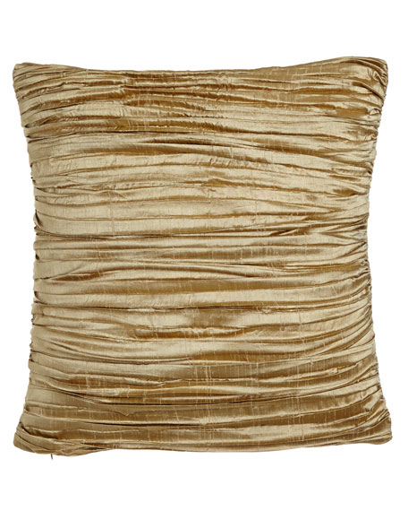 "Antoinette Pleated Silk Pillow with Feather/Down Insert, 18""Sq."