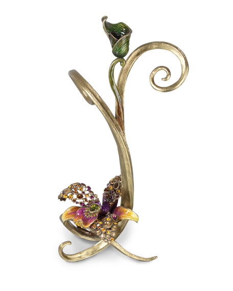 Jay Strongwater Mirabelle Orchid Single Candlestick