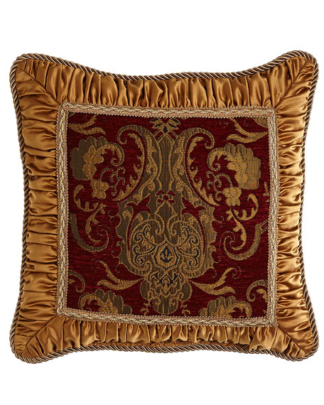 "Scarlet Pillow with Shirred Gold Frame, 18""Sq."