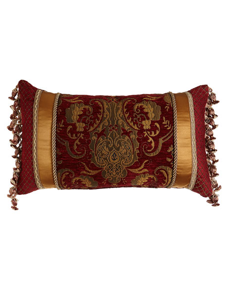 "Scarlet Pieced Pillow with Onion Fringe at Sides, 13"" x 24"""