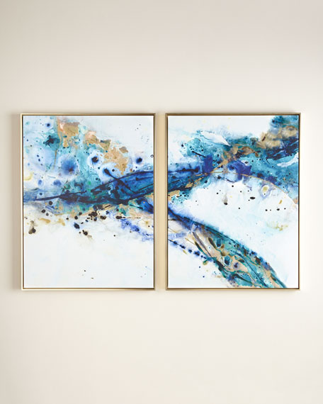 "Two ""Azure Canyon"" Giclee on Canvas Wall Art Set"
