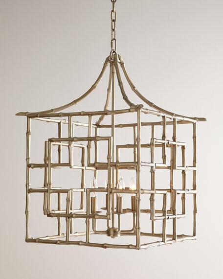 Bamboo Fretwork 4-Light Chandelier