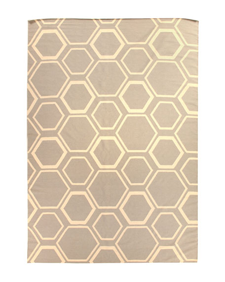 Light Gray Honeycomb Rug, 5' x 8'